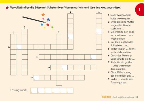 Kreuzworträtsel Sätze vervollständigen im Fidibus-Übungsheft