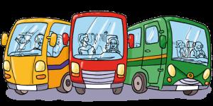 Illustration Katja Rau, 3 verschiedene Busse in gelb, rot und grün