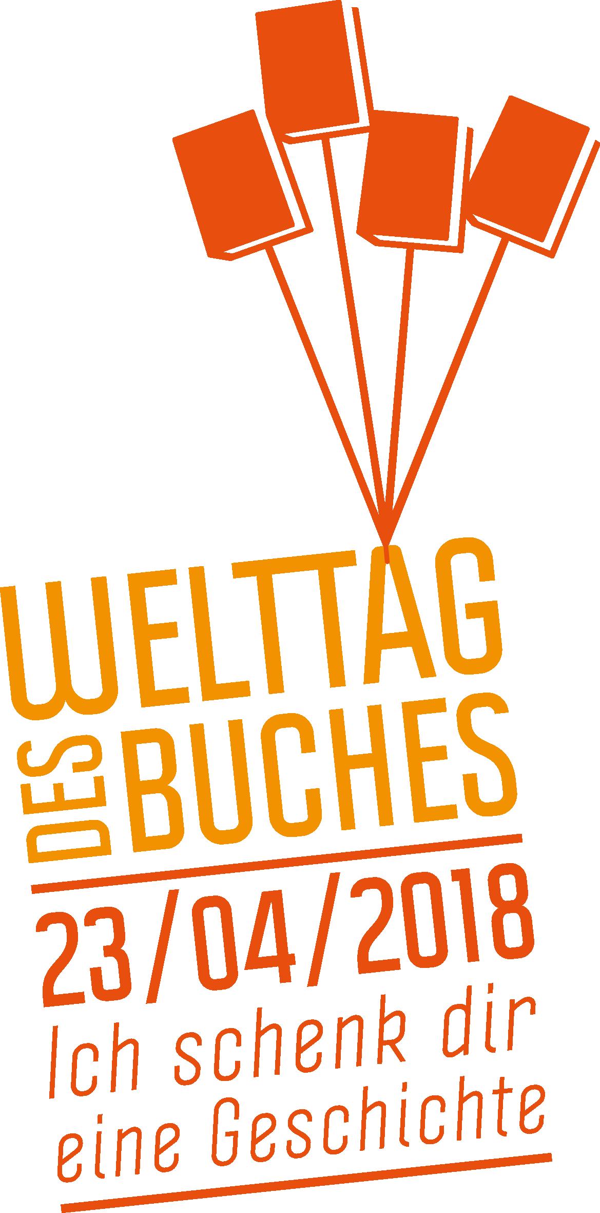"""Logo """"Welttag des Buches"""" 2018"""