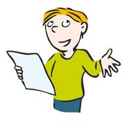 Illustration mit Kind, trägt Gedicht vor