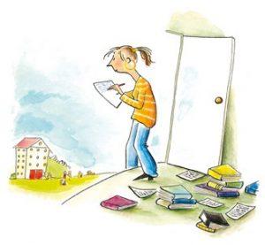 Illustration einer Schülerin mit Büchern, schreibt Praktikumsbericht, schaut auf ein Gebäude