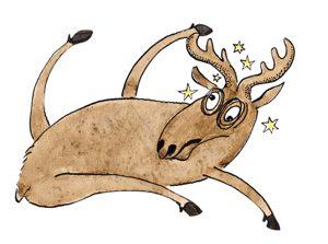 Illustration Rentier, verunglückt, mit Sternchen über dem Kopf