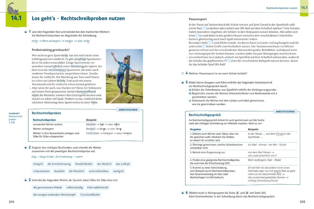 Beispielseite aus Deutsch kompetent mit Rechtschreibprobe