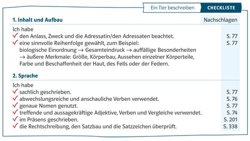 Beispiel aus Deutsch kompetent für eine Checkliste